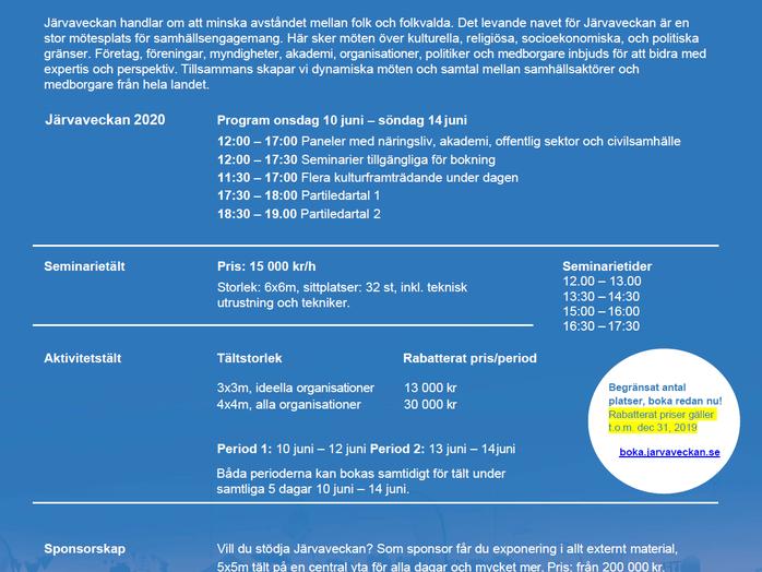 Bokningssystemet öppen för Järvaveckan 2020: 10 juni - 14 juni